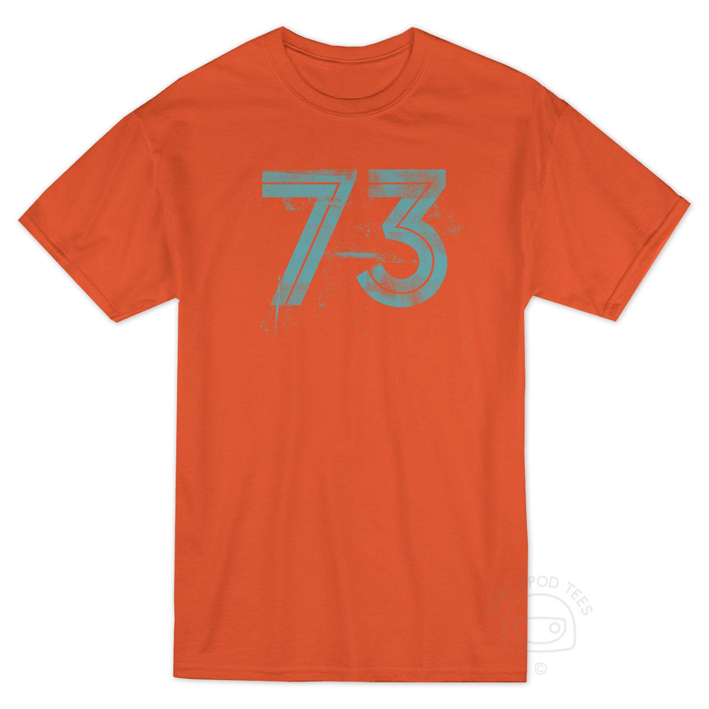 73 Prime Number T-shirt, Front, Orange
