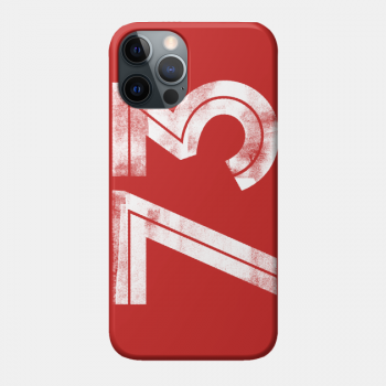 the number 73 printed in white on a red smart phone case, with a cool ink roller effect