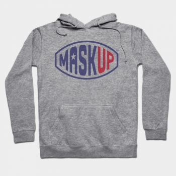 Mask Up Graphic Hoodie in Flag colours with single star, printed on shirt front